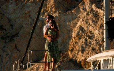 Sunset Sailing Wedding Proposal In Santorini